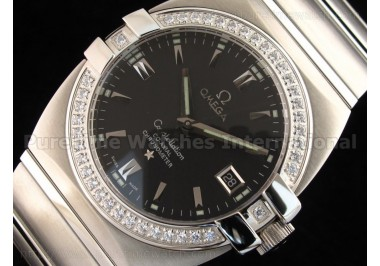 Constellation Mens SS Diamonds Bezel Black