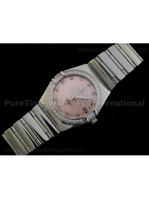 Constellation Mens SS Quartz Pink Dial CZ Diamond ...