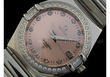 Constellation Mens SS Quartz Pink Dial CZ Diamond Bezel