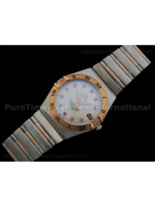 Constellation Mens 14K TT Quartz MOP Dial Roman Be...