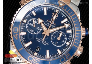 Planet Ocean Master Chronometer OMF SS/RG Blue Polished Bezel Blue Dial on SS/RG Bracelet A9901 (Black Balance Wheel)