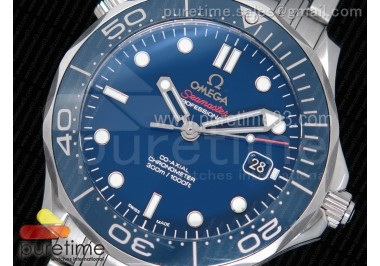 Seamaster 300M Chronometer SS Blue OMF 1:1 Best Edition on SS Bracelet A2824 (Black Balance Wheel)