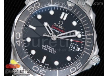 Seamaster 300M Chronometer SS Black OMF 1:1 Best Edition on SS Bracelet A2824 (Black Balance Wheel)
