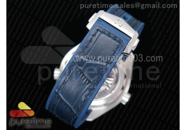 Planet Ocean 42mm SS OMF 1:1 Best Edition Blue Liquidmetal Bezel Blue Dial on Blue Leather Strap A8900 (Black Balance Wheel)
