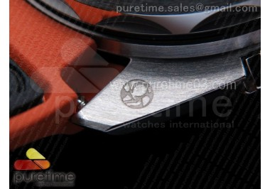 Planet Ocean Master Chronometer OMF SS Black/Orange Polished Bezel Black Dial on Black Nylon Strap A9900 (Black Balance Wheel)