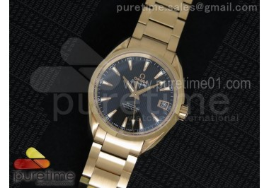 Aqua Terra 38.5mm RG Black Textured Dial on RG Bracelet A8605