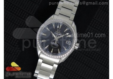 Aqua Terra 38.5mm SS Black Textured Dial Diamonds Bezel on SS Bracelet A8500