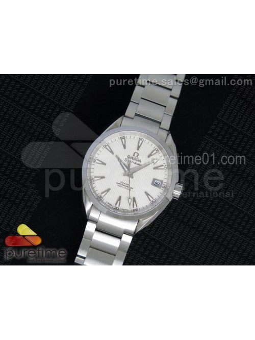 Aqua Terra 38.5mm SS White Textured Dial on SS Bra...