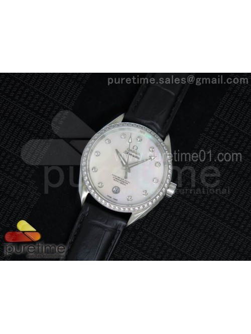 Aqua Terra 38.5mm SS White MOP Dial Diamonds Bezel...