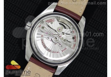 Aqua Terra 38.5mm SS White Textured Dial on Brown Leather Strap A8500