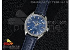 Aqua Terra 38.5mm SS Blue Textured Dial on Blue Le...