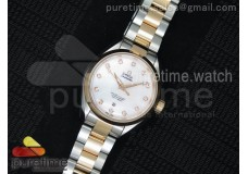 Aqua Terra Ladies SS V6F White Dial RG Bezel on SS...
