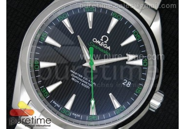 Aqua Terra 150M SS 1:1 Best Edition Black Textured Dial Green on SS Bracelet A8500
